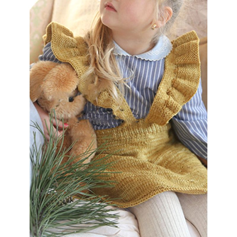 Knitted Strapped Flounced Cotton Dress for Babies Toddlers Girls Solid Color Autumn