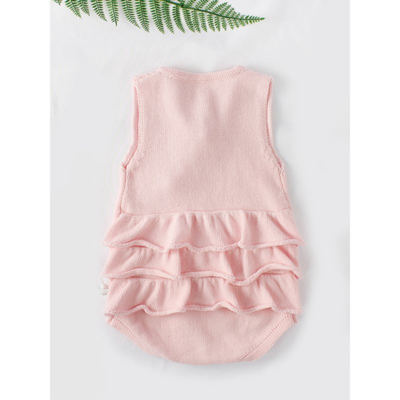 Flounced Knitted Cotton Romper Sleeveless Solid Color Bodysuit for Baby Girls