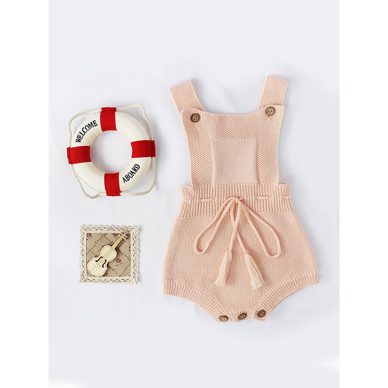 Strapped Knitted Cotton Romper Sleeveless Solid Color Bodysuit Fringed Belt for Baby Girls
