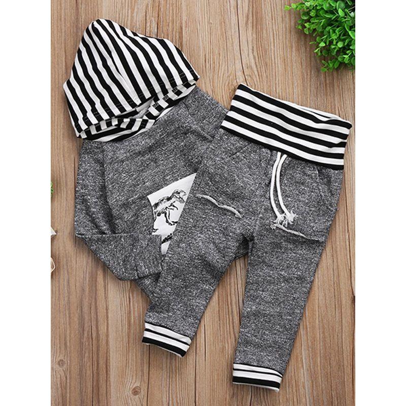2-piece Striped Top Pants Baby Set Long Sleeves Dinosaur Print Deepblue Hoodie
