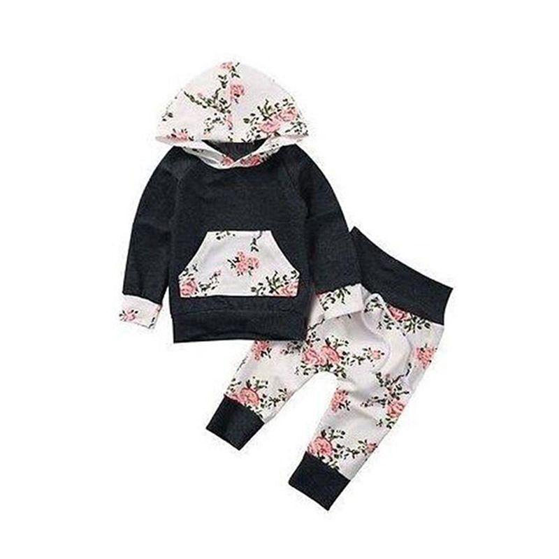 2-piece Floral Print Hoodie Pants Set Long Sleeves Flowers Print Splicing Top