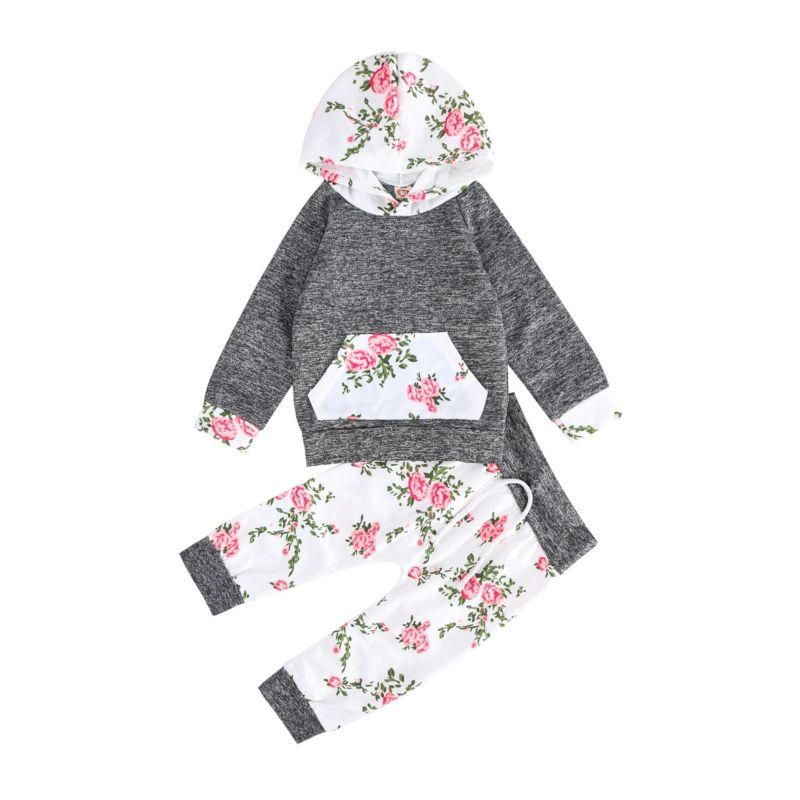 2-piece Floral Print Hoodie Pants Set Long Sleeves Flowers Print Splicing Top
