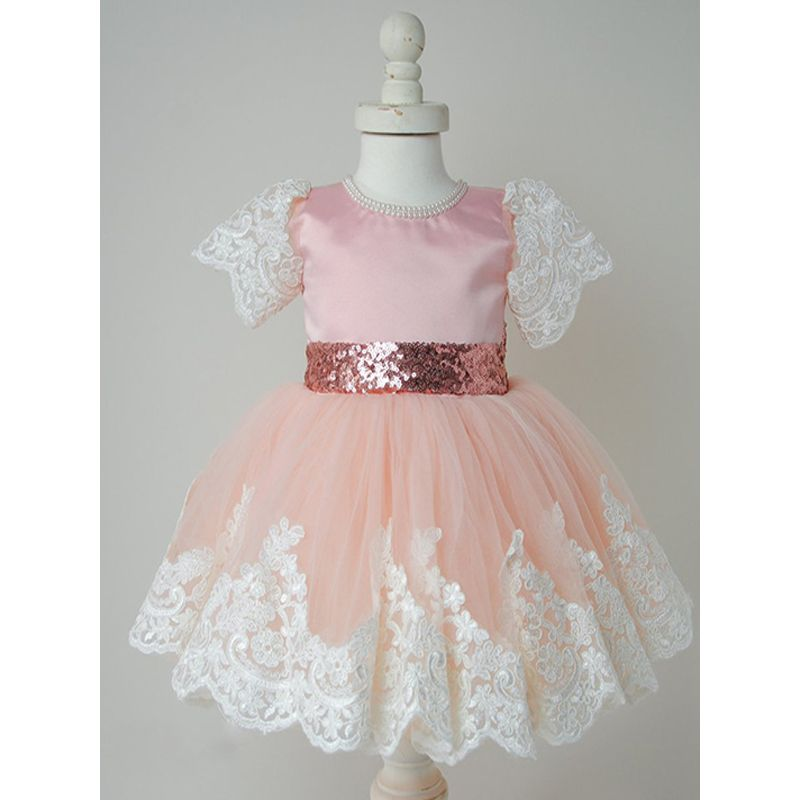Lacework Short Sleeves Pleated Tulle Baby Toddler Princess Dress for Little Girls