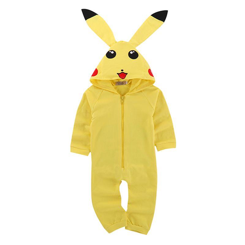 Cute Pikachu Pattern Long Sleeves Zippered Onesies Baby Romper Jumpsuit