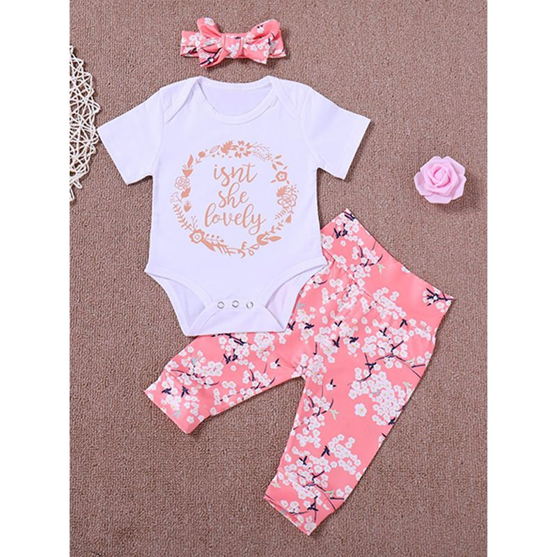 3-piece Headband Romper Pants Baby Girls Set Letters Floral Print White Romper Flowers Print Pink Trousers
