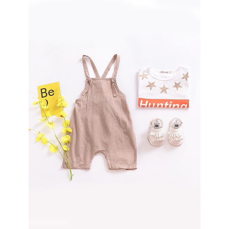 Solid Color Strapped  Jumpsuit Sleeveless for Baby Boys Girls