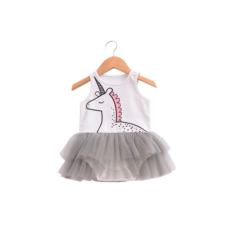 3a1e5c5131c5 Cartoon Unicorn Tulle Skirt-like Romper Bodysuit for Baby Girls