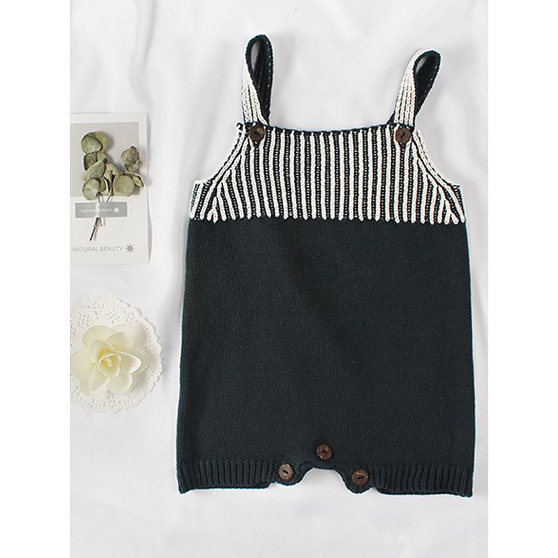 Color Block Stripes Knitted Romper Strapped Bodysuit for Baby Boys Girls