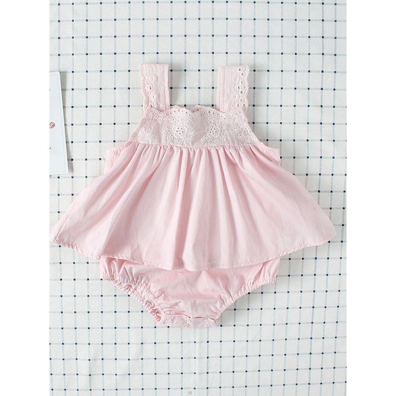 Dress-like Cotton Romper Strapped Sleeveless Bodysuit for Baby Girls