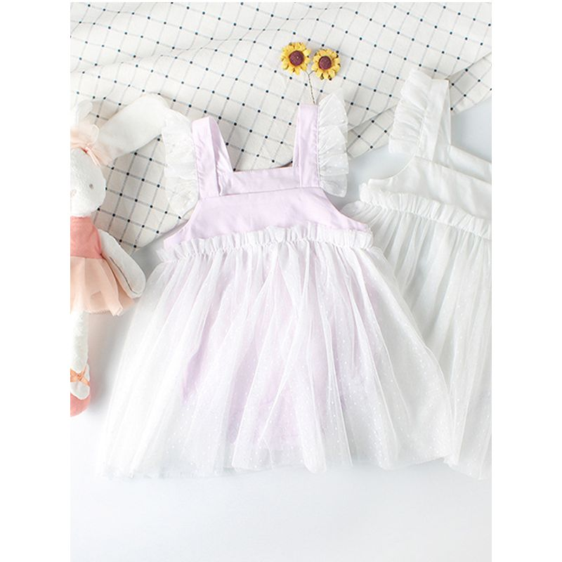 Paneled Tulle Dress-like Cotton Romper Strapped Bodysuit for Baby Girls