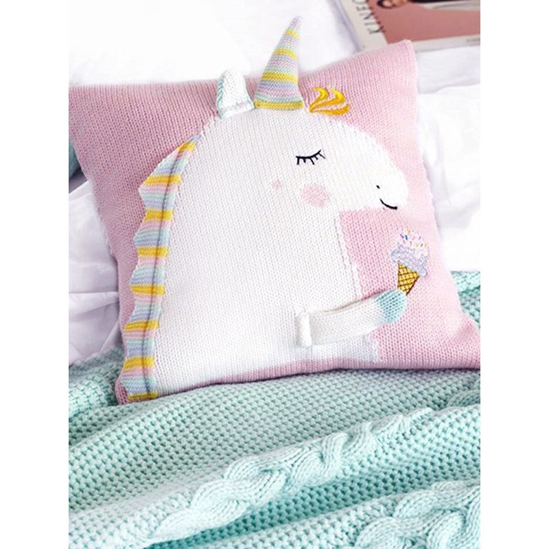 Adorable 3D Unicorn Pattern Knitted Baby Pillow Back Cushion