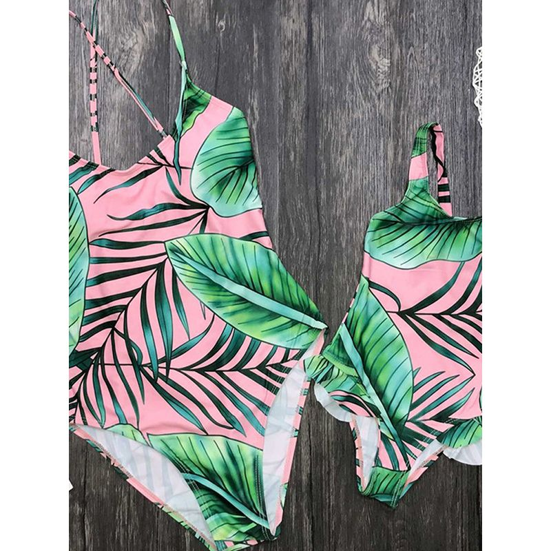 MOMMY AND ME Strapped Big Leaves Swimwear Elastic Beach Pool Wear for Moms Daughters Girls