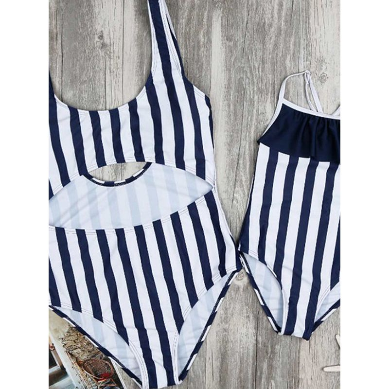 MOMMY AND ME Strapped Stripes Print Swimwear Elastic Beach Pool Wear for Moms Daughters Girls