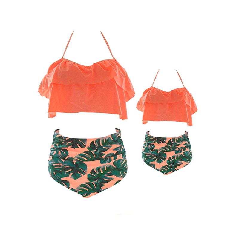 MOMMY AND ME Strapped Big Leaves Print Swimwear Elastic Beach Pool Wear for Moms Daughters Girls