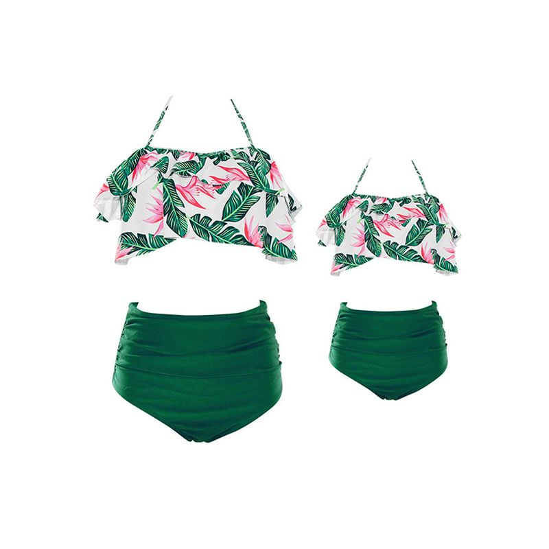MOMMY AND ME Strapped Floral Leaves Swimwear Top Shorts Elastic Beach Pool Wear for Moms Daughters Girls