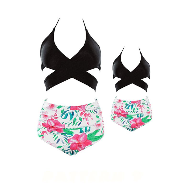 MOMMY AND ME Strapped Flowers Swimwear Top Shorts Elastic Beach Pool Wear for Moms Daughters Girls
