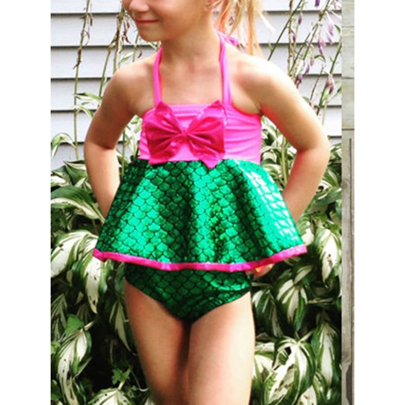 Mermaid Fish Scale Dress-like Swimwear Bow Halterneck for Toddlers Girls