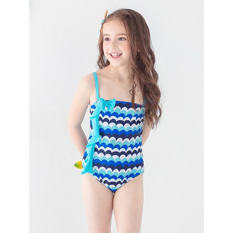 One-piece Stripes Flounced Bow-knot Swimwear Strapped F Elastic Pool Beach Spring for Toddlers Girls
