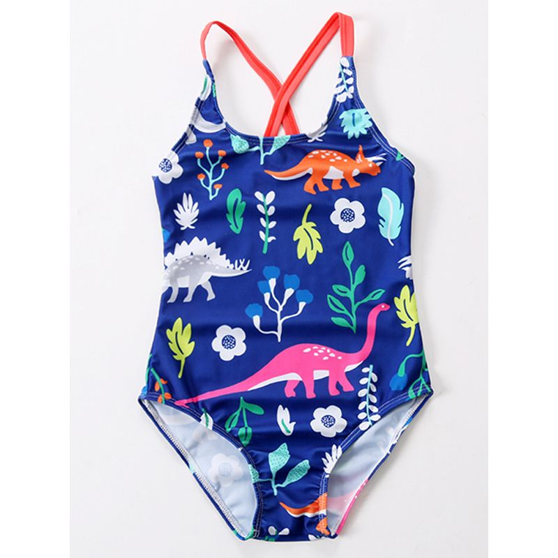 Dinosaurs Floral Print Strapped Elastic Swimwear Pool Beach Spring for Toddlers Girls