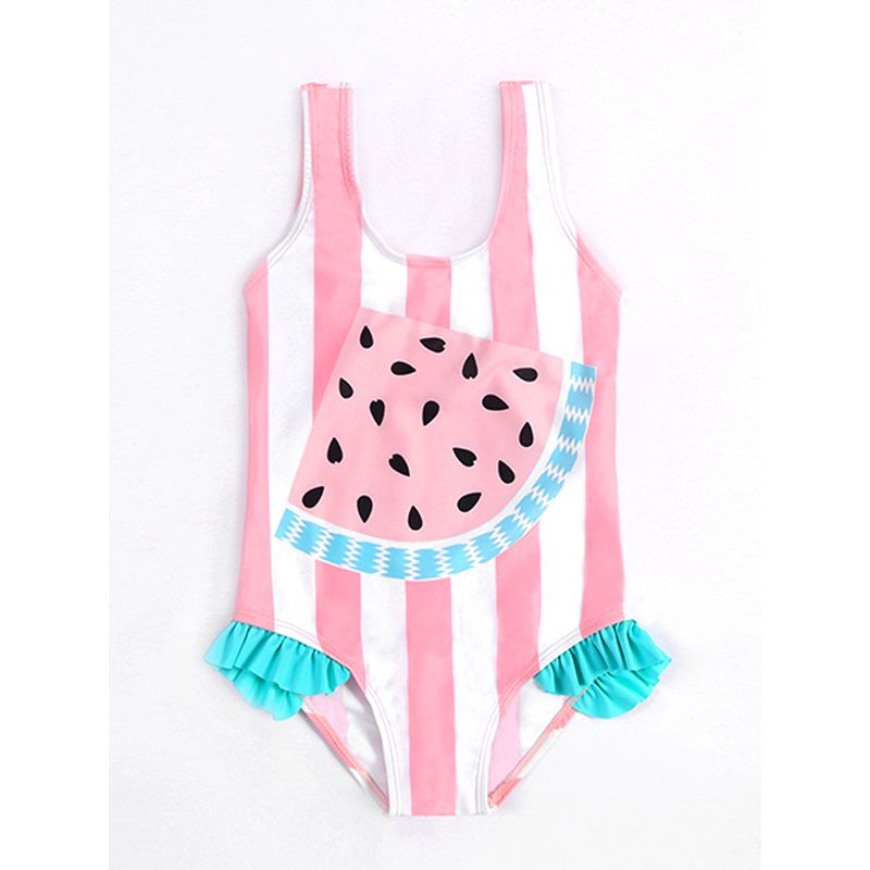 One-piece Cute Watermelon Striped Strapped Elastic Swimwear Beach Pool for Toddlers Girls