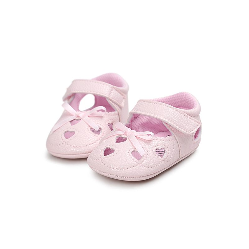 Heart Pattern Pierced Soft Sole Princess Shoes Velcro Antiskid Crib Shoes for Baby Girls