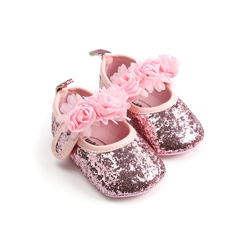 Roses Pattern Soft Sole Pre-walking Princess Shoes Velcro Antiskid Crib Shoes for Baby Girls