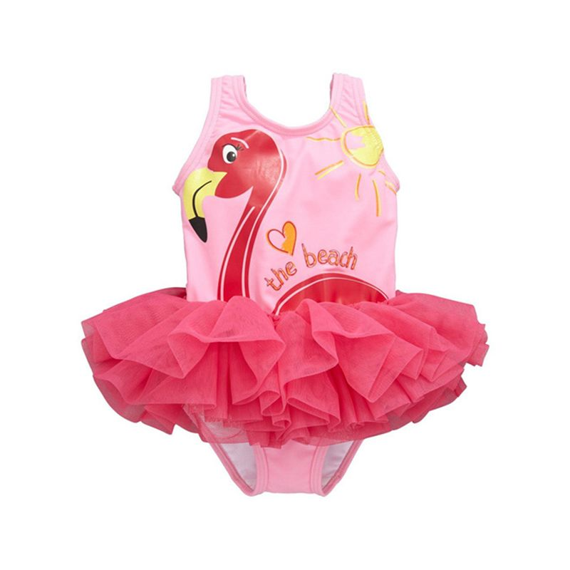 The Sun Swan Letters Print Tulle Little Girl Swimsuit Swimwear