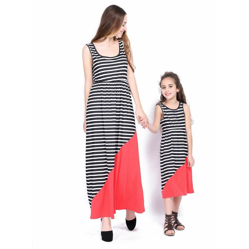 Mom and Me Black and White Stripes Splicing Girls Long Dress
