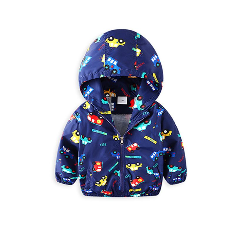 Cartoon Cars Letters Print Toddler Little Boys Hoodie Zippered Coat