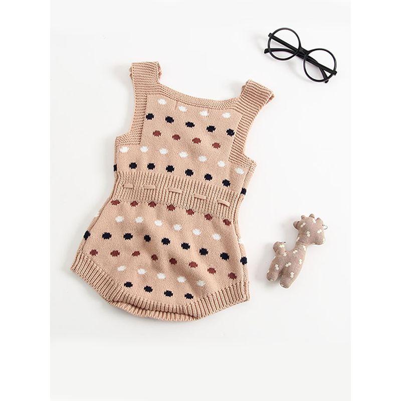 Dots Knitted Sleeveless Cotton Romper Bodysuit for Baby Girls Boys