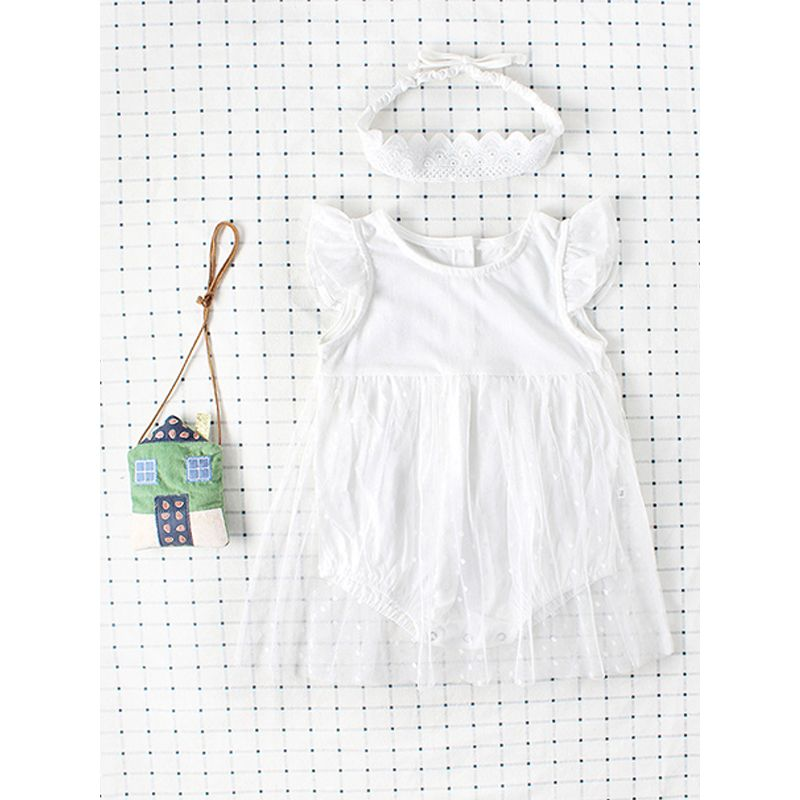 White Tulle Dress-like Romper Breathable Bodysuit for Baby Girls