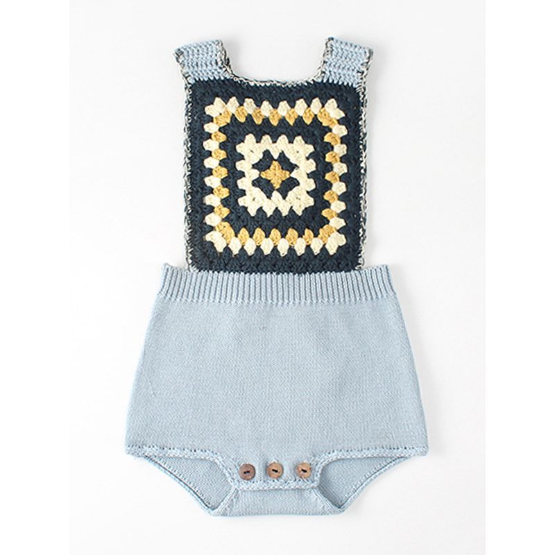 Kiskissing blue Knitted Graphic Cotton Romper Sleeveless Strapped Bodysuit for Baby Toddler Boys Girls the obverse side traditional spanish baby clothes wholesale