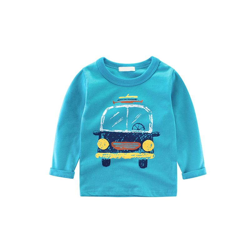 Cartoon Print Long Sleeves Cotton Toddler Boys Girls T-shirt Undershirt