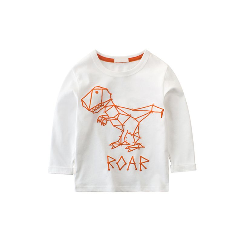 Dinosaur Letters Print Long Sleeves Cotton Toddler Boys Girls T Shirt
