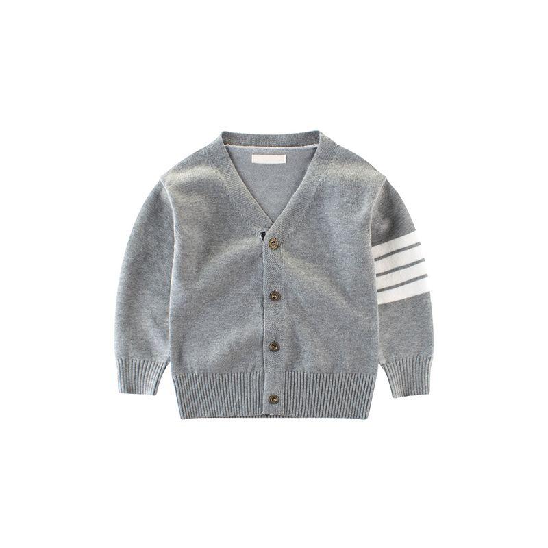 V Neck Long Sleeves British Style Kids Sweater Bottoned Toddlers Cardigan
