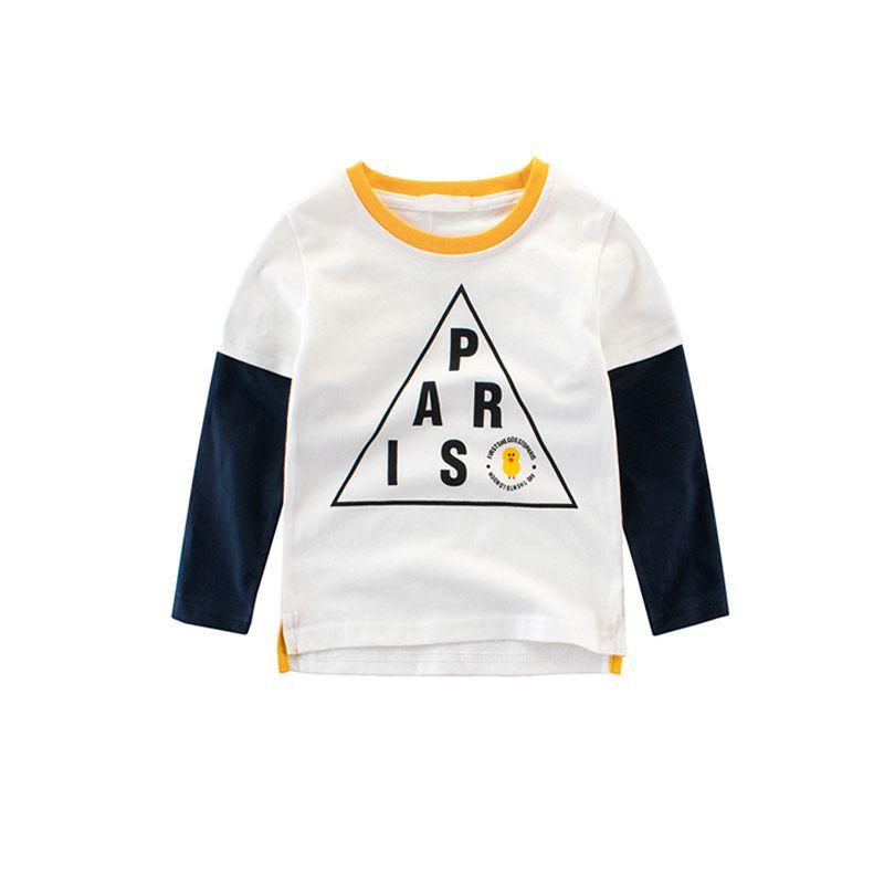 PARIS Letters Print False Two Pieces Long Sleeves Toddlers Kids T Shirt