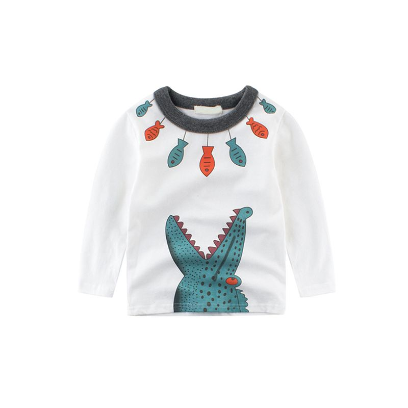 Crocodile Fishes Print Long Sleeves Toddlers Cotton Undershirt