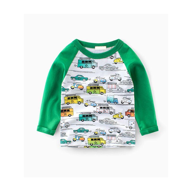 Vehicles Print Long Sleeves Cotton Toddlers Kids Undershirt T Shirt