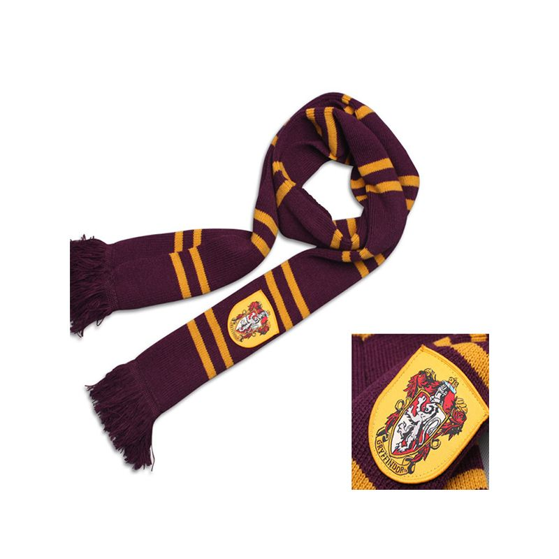 Cosplay Harry Porter Fringed Knitted scarf Badge Stripes for Boys Girls