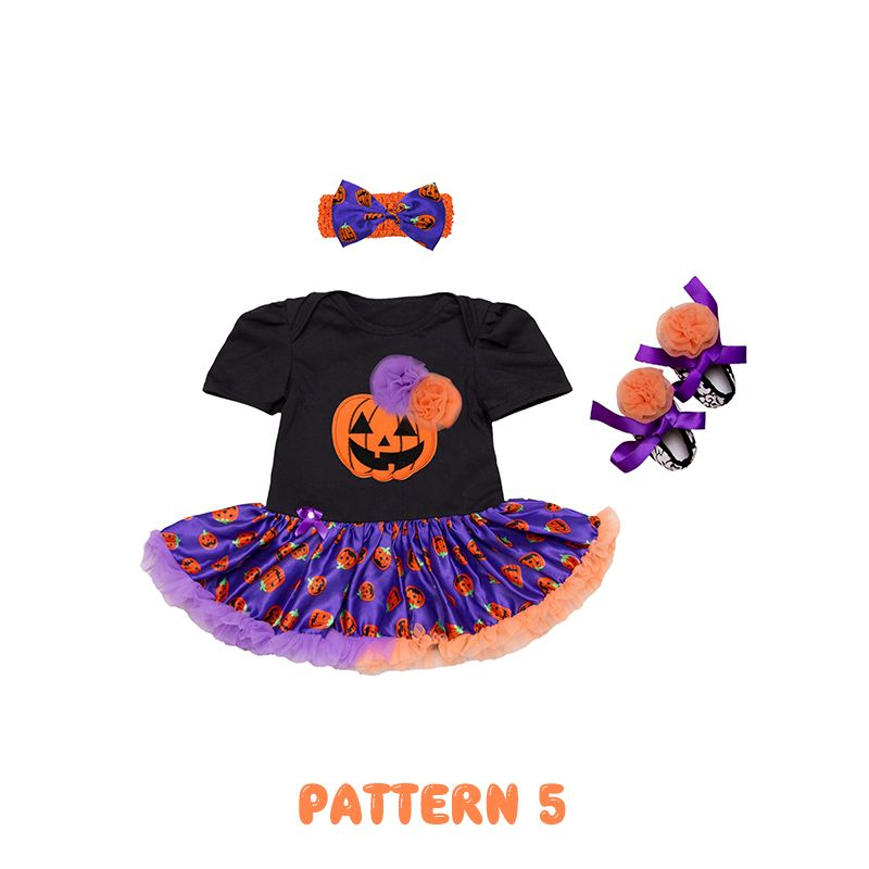 Halloween Pleated Dress-like Romper Headband Shoes Set for Baby Girls