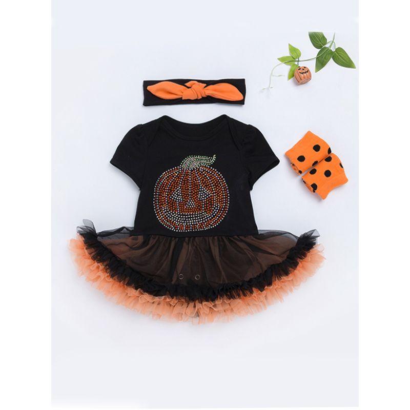 Halloween 3-piece Pumpkin Tulle Tutu Dress-like Romper Headband Leg Warmers Set for Baby Girls