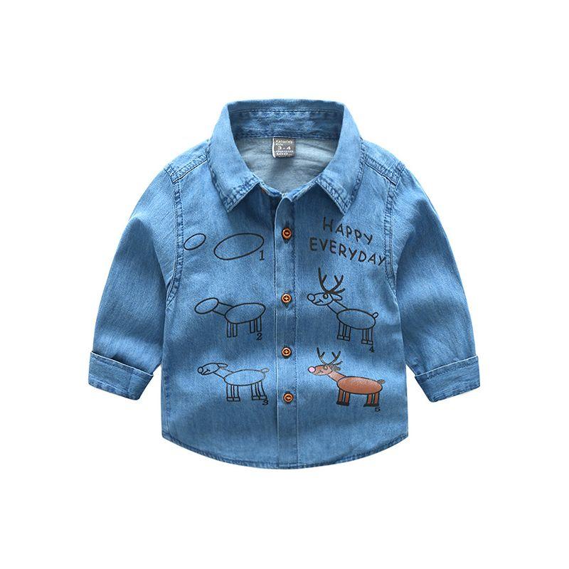 Deers Print Long Sleeves Toddlers Kids Denim Shirt Blouse