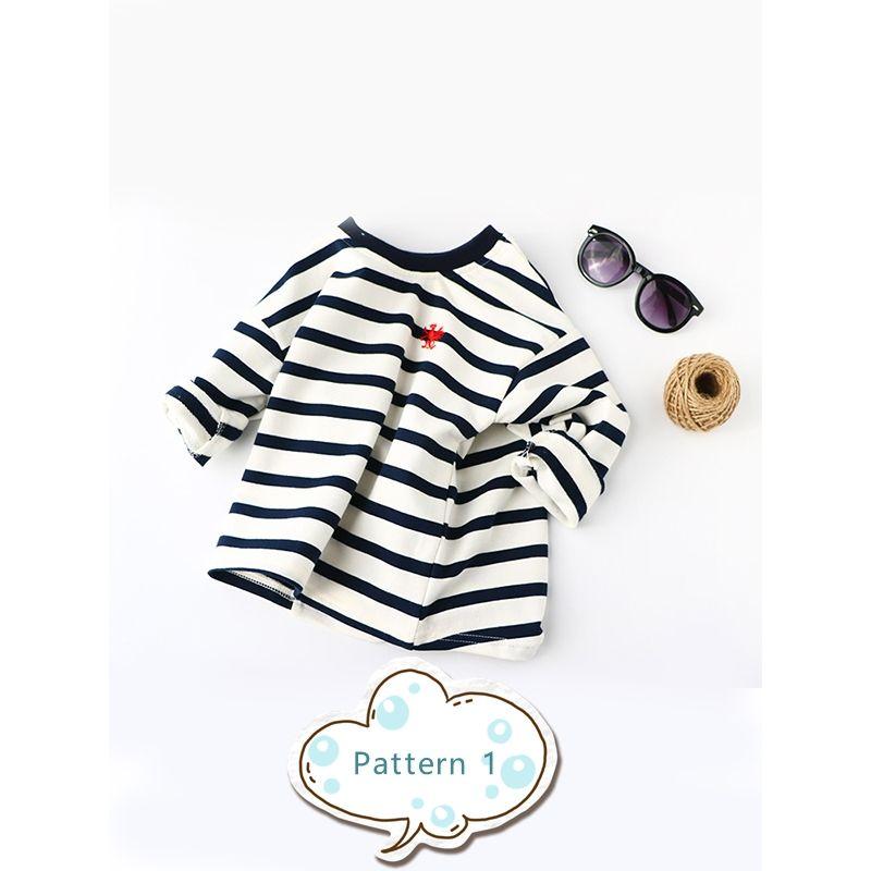 Stripes Long Sleeves Toddlers Kids Cotton T-shirt Undershirt