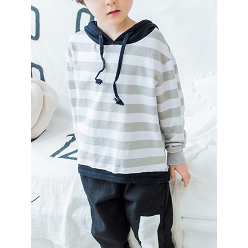 False Two Piece Stripes Long Sleeves Toddlers Kids T Shirt