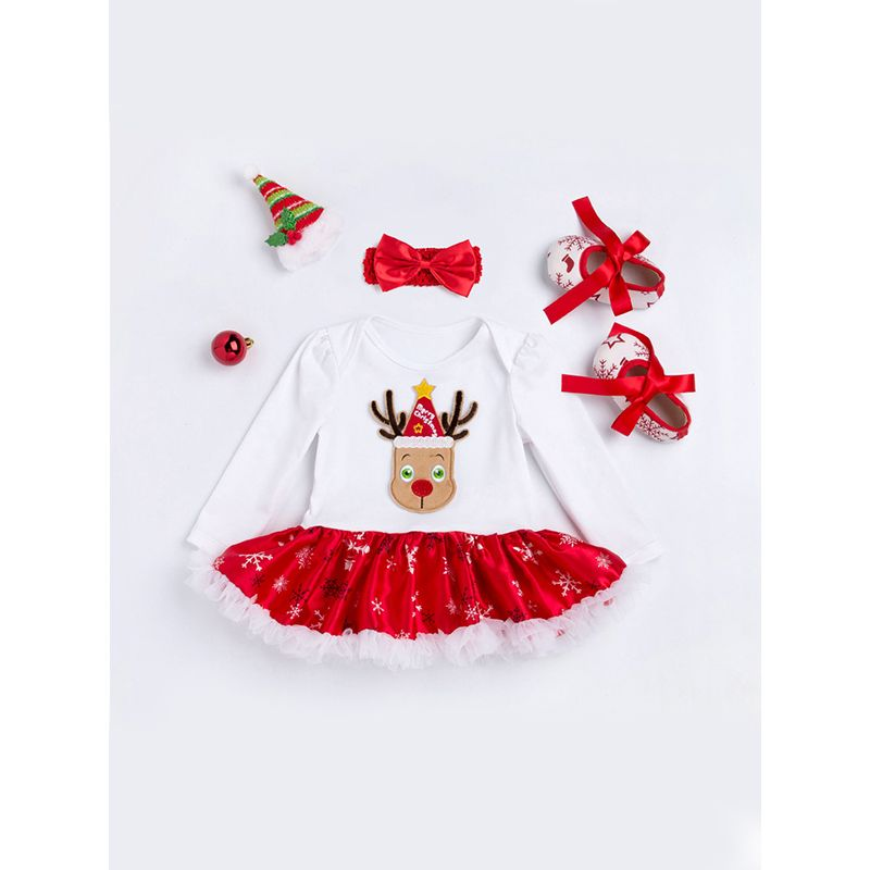 Christmas Tutu Dress-like Romper Set Headband Long-sleeve for Baby Girls