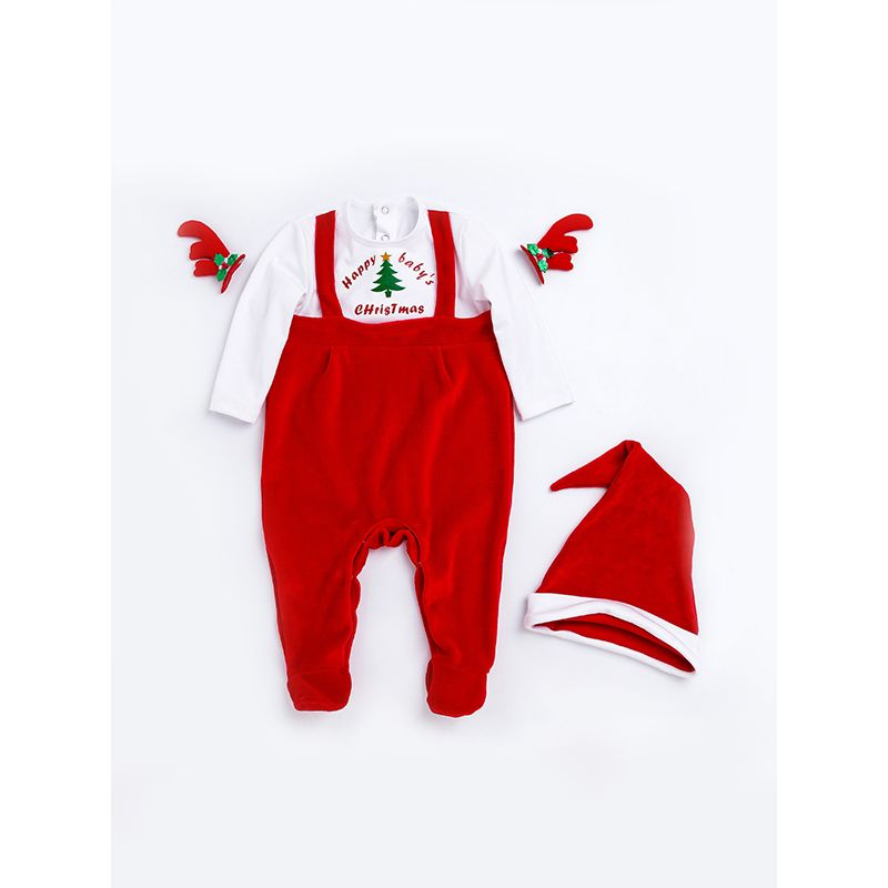 Christmas Tree Cotton Romper Set Hat Long-sleeve Jumpsuit for Baby Boys Girls