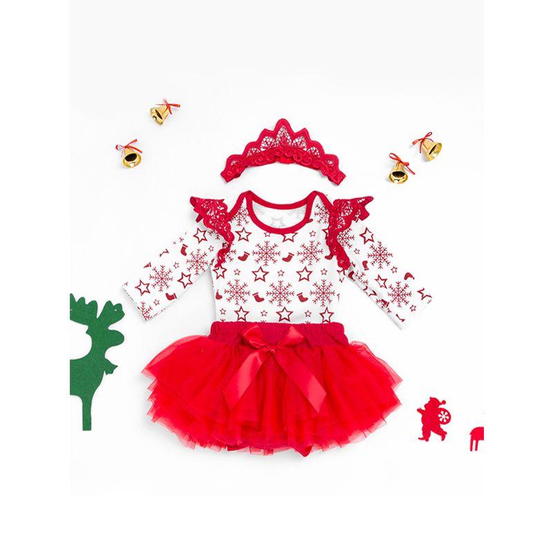 Christmas Snowflake Romper Tulle Tutu Princess Skirt Set Long-sleeve Bodysuit Holiday Wear for Baby Girls
