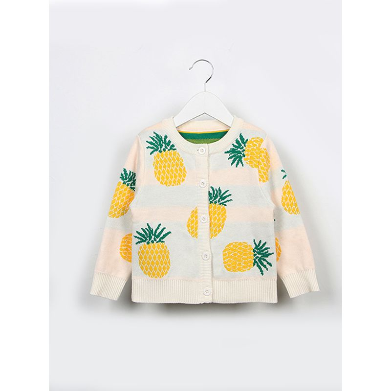MOMMY AND ME Pineapple Cardigan Knitted Long-sleeve Top Buttoned for Babies Girls Boys Adults