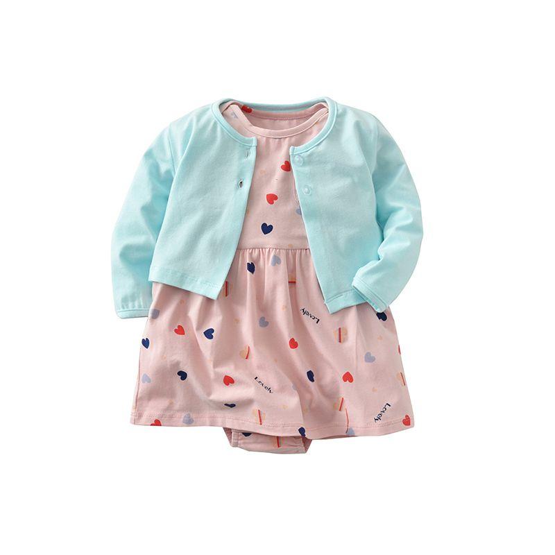 2-piece Coat Dress-like Hearts Print Romper Set Long-sleeve Top for Baby Girls