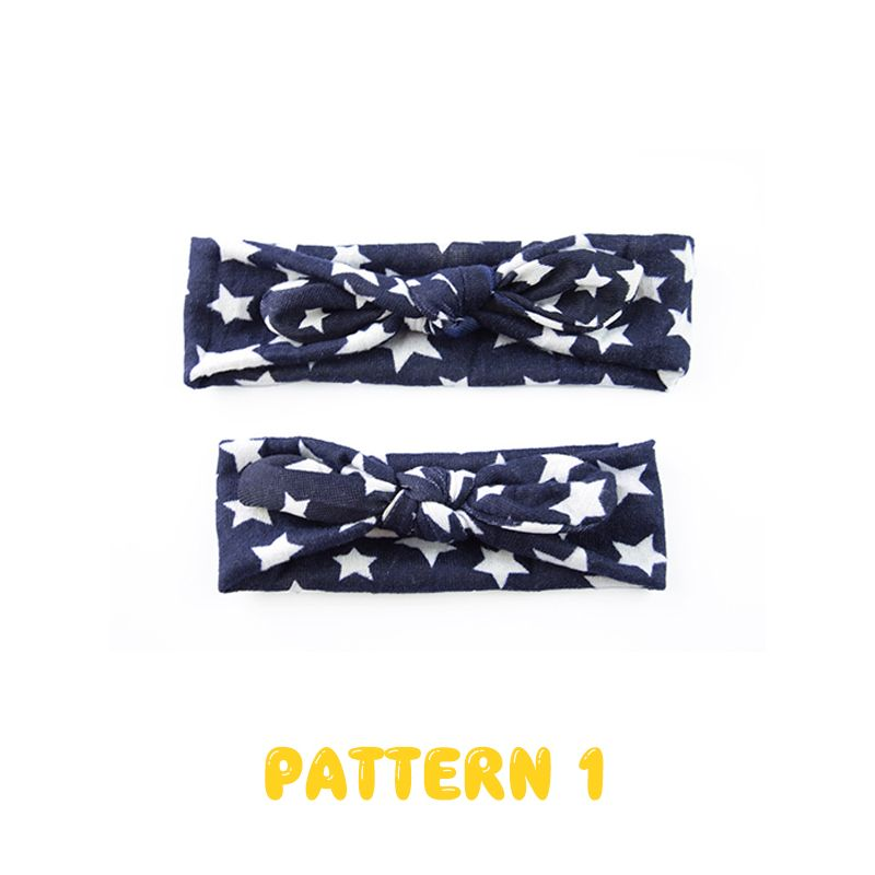 Mom and Me Stars Knotted Headband Knitted Elastic Hairband Set